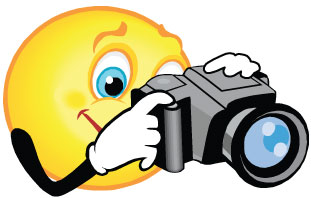 Clipart of smiley face taking a picture